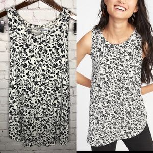 Old Navy Luxe Black and White Floral Swing Tank